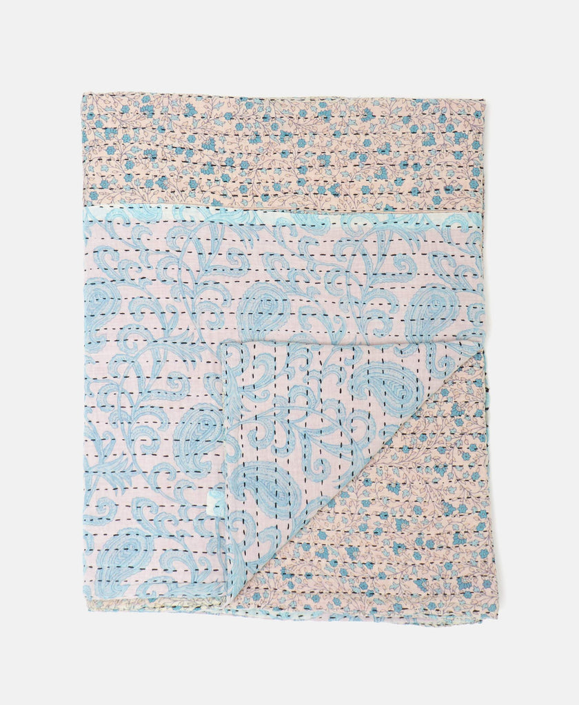 light blue floral baby quilt eco-friendly made from vintage fabrics