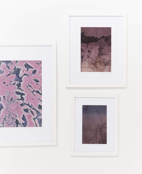 Naturally dyed framed textile art collection created using plants from Dyescape's urban garden