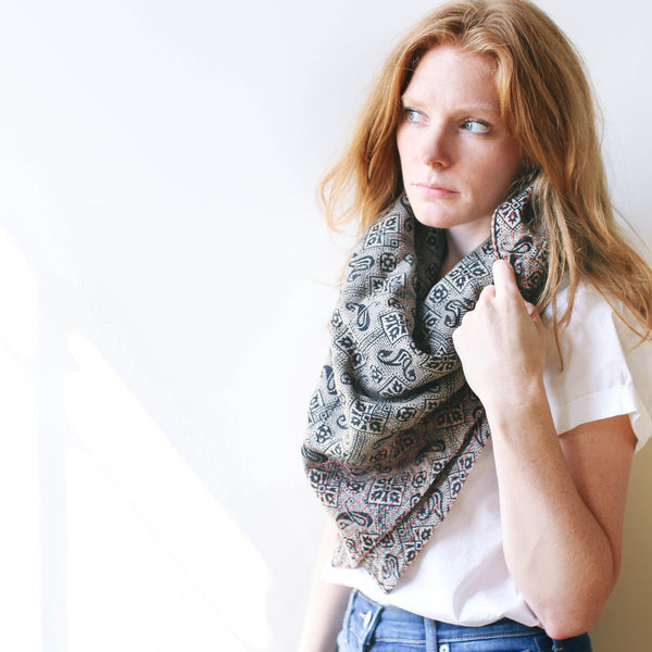 Handmade Cotton Square Scarf - Navy and Yellow Squares