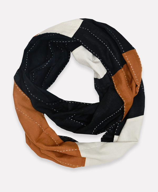organic cotton infinity scarf with black brown and white stripes and kantha stitching
