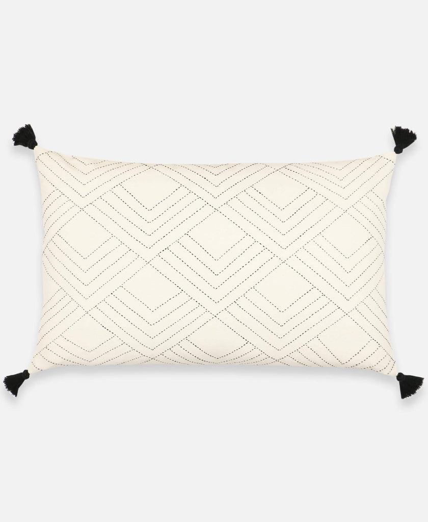 Anchal Project ivory tassel lumbar pillow with hand-stitched geometric tile design