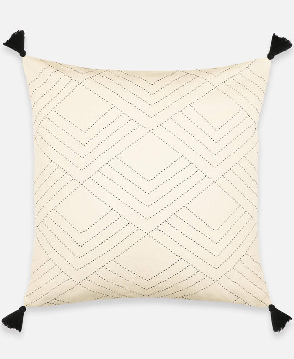 Anchal bone white throw pillow with modern boho tassels