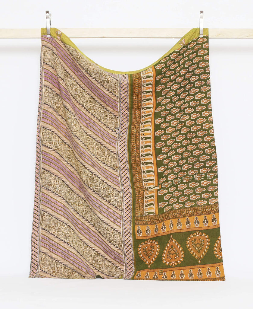 Green twin kantha quilt made from sarees with red and yellow striped and paisley patterning