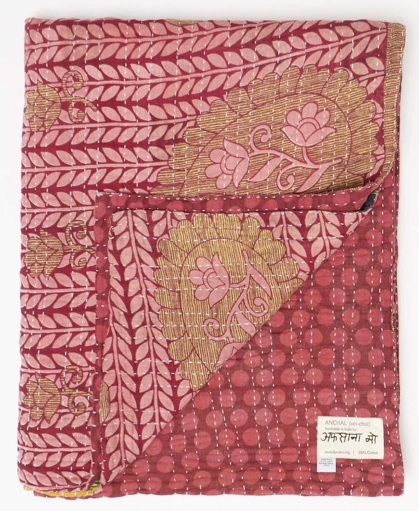 Unique pink twin kantha quilt polka dots and paisley patterns with a white kantha stitch
