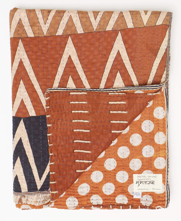 Fair trade brown kantha twin quilt handmade from Anchal artisans in Ajmer India