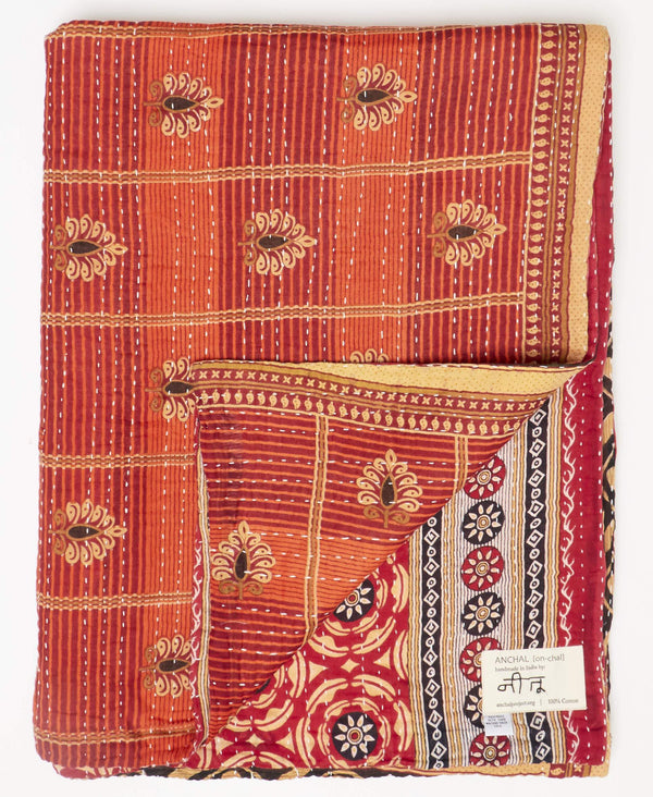 Fair trade brown kantha twin quilt handstitched by Anchal artisans in Ajmer India