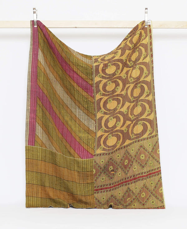 Bold red and yellow vintage twin quilt with green and yellow geometric detailing with white kantha stitching