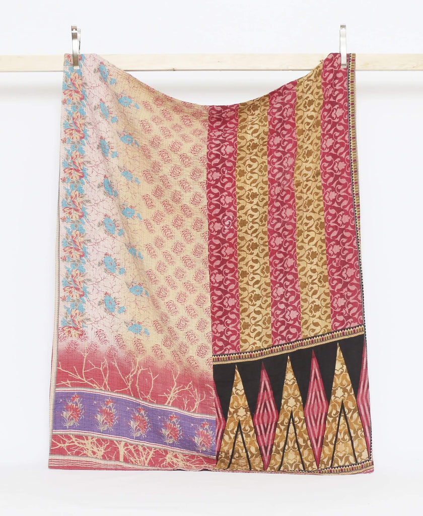 Twin quilt throw handmade in Ajmer, India in pink, lilac, periwinkle.