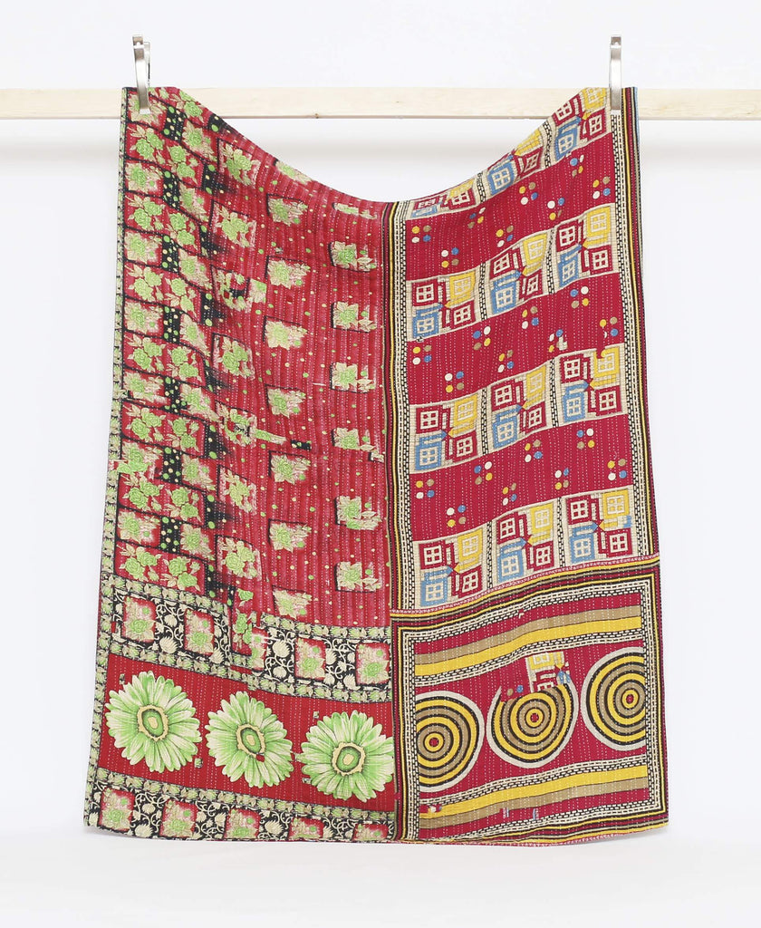 Twin kantha quilt bedding made from vintage saris to create a buttery soft quilt throw