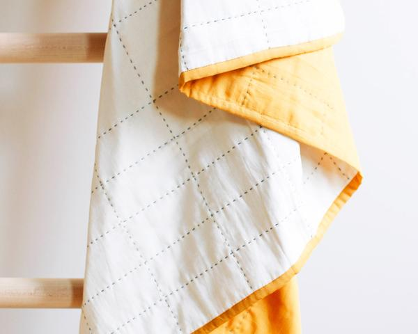 Anchal Gold Grid Throw