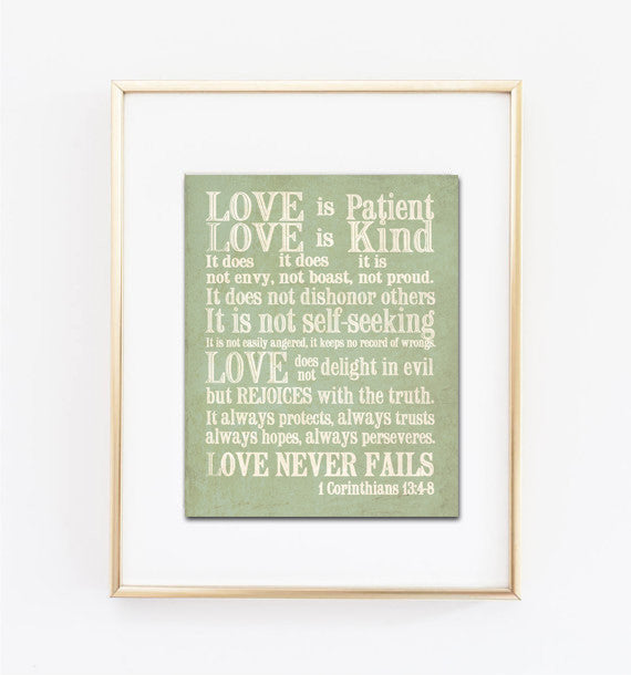 Love is Patient, Love is Kind Green Print