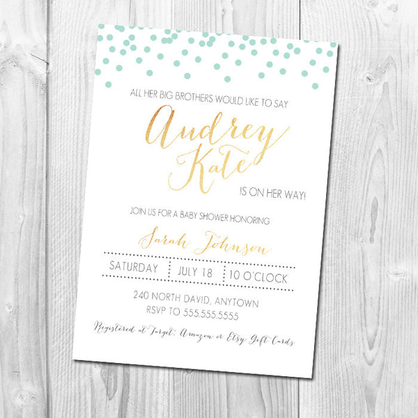 Confetti & Gold Baby Shower Invitation