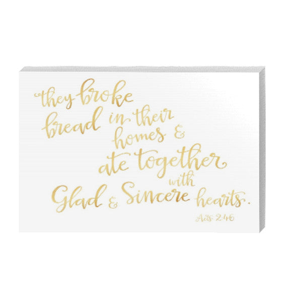 The Broke Bread in Their Homes Gold Canvas