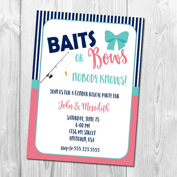 Baits or Bows Gender Reveal Party
