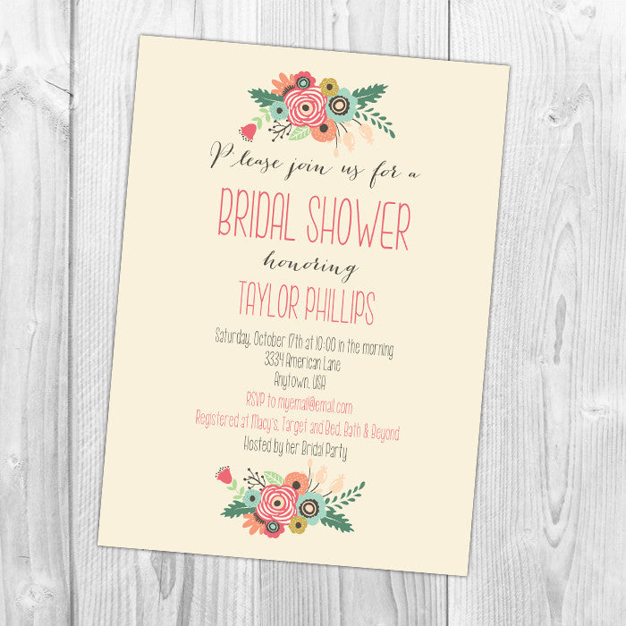 Floral Arches Shower Invitation