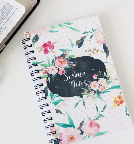 Floral Dot Sermon Notebook