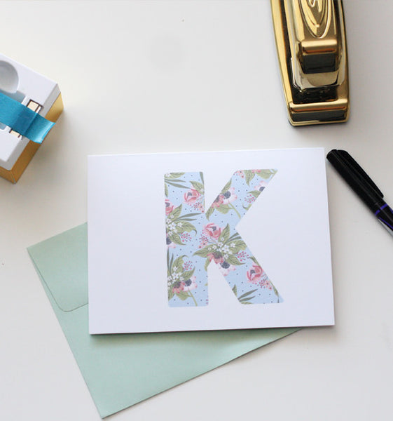 Floral Initial Notecard Set