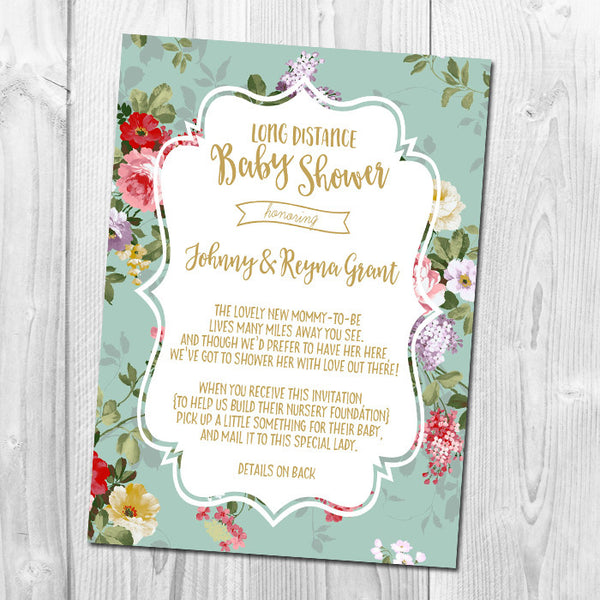 Floral Long Distance Shower Invitation