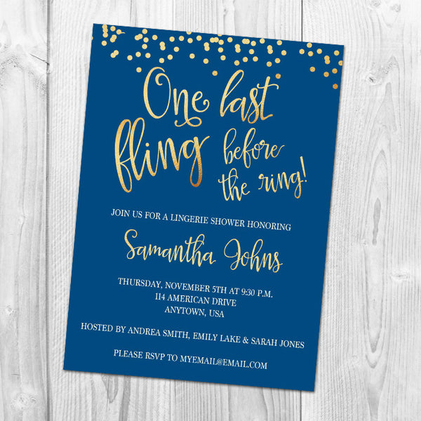 One Last Fling Lingerie Shower Invitation