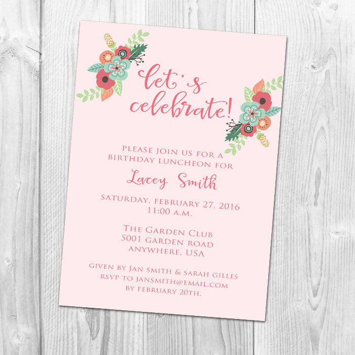 Let's Celebrate Floral Party Invitation