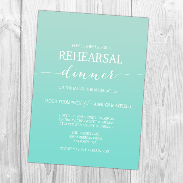 Ombre Rehearsal Dinner Invitation