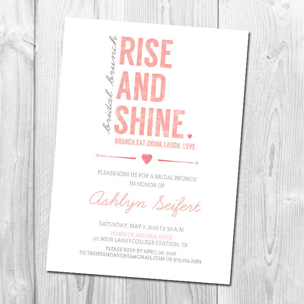 Rise and Shine Bridal Shower Brunch Invitation