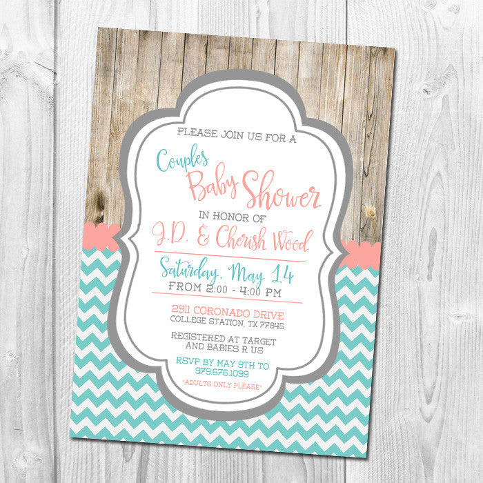 Rustic Baby Shower Invitation, Couples Shower