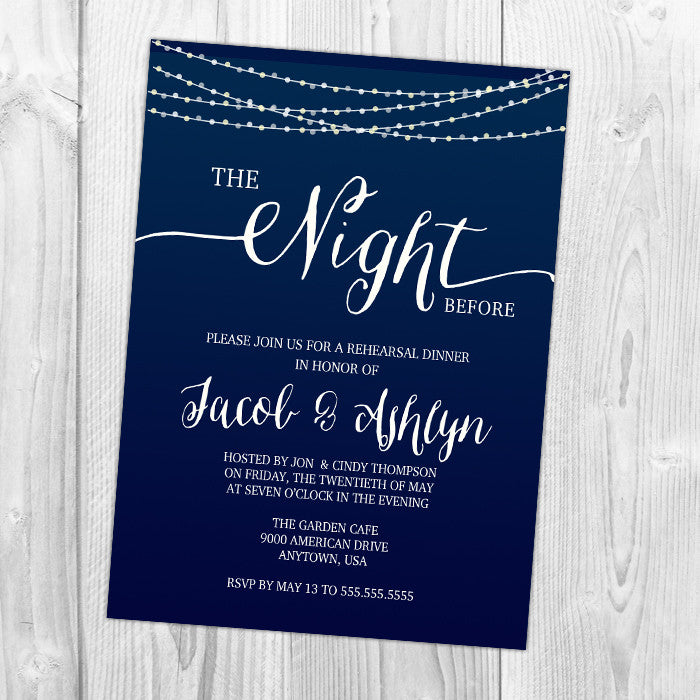 The Night Before - Rehearsal Dinner Invitation