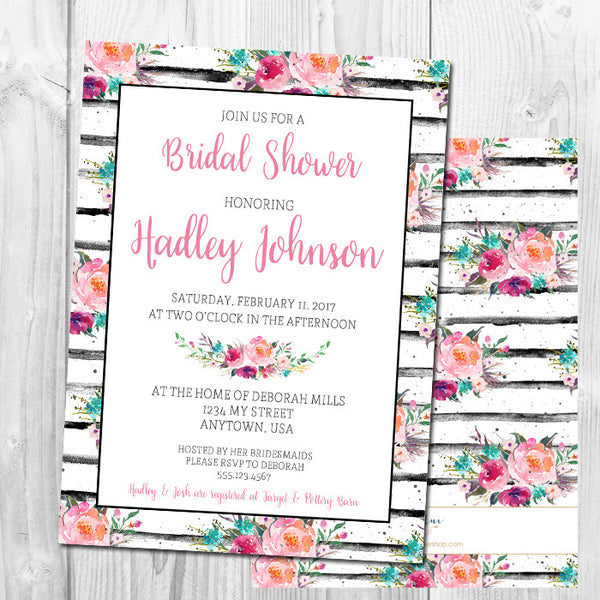 Watercolor Floral Stripe Bridal Shower Invitation