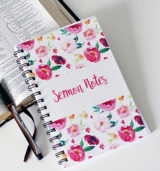 Watercolor Floral Sermon Notebook