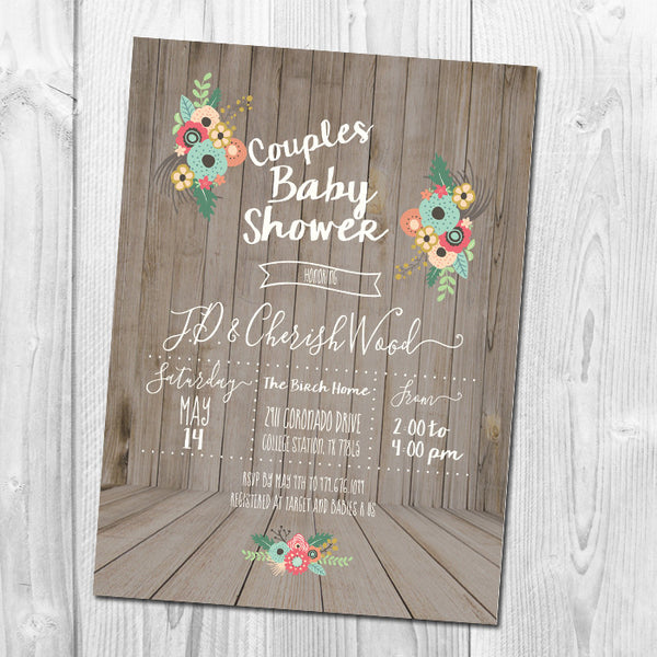 Wooden Baby Shower Invitation, Couples Shower