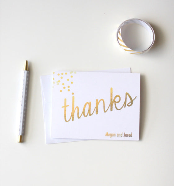Gold Foil Confetti Personalized Thank You Note