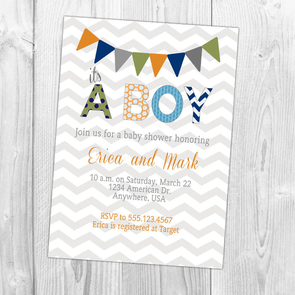 Bunting Baby Shower Invitation
