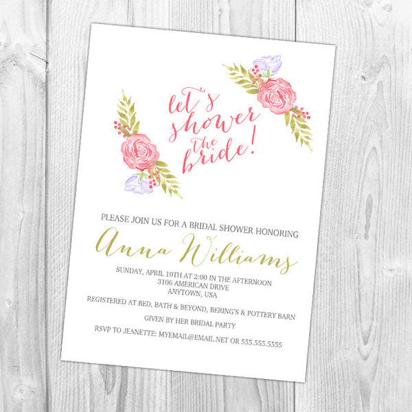Shower the Bride Floral Shower Invitation