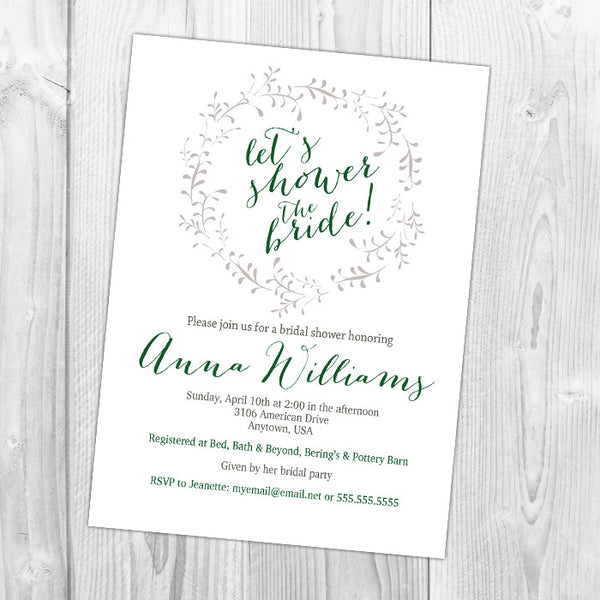 Shower the Bride Wreath Shower Invitation
