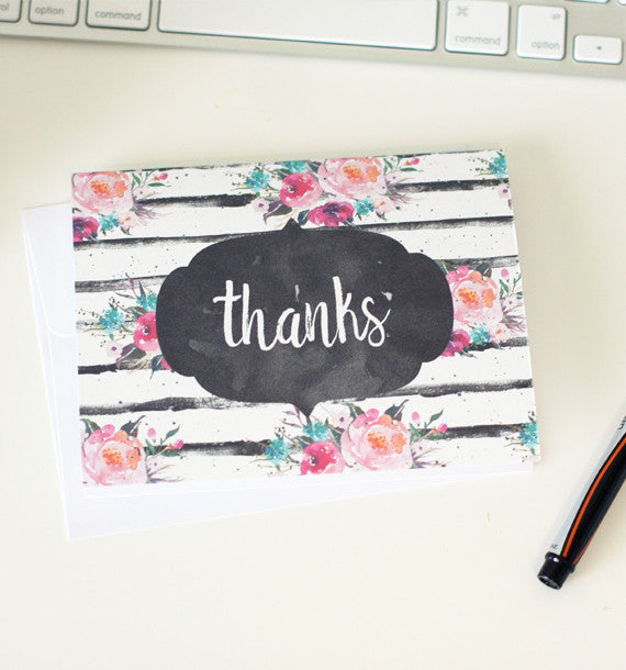 Watercolor Floral Notecards Set
