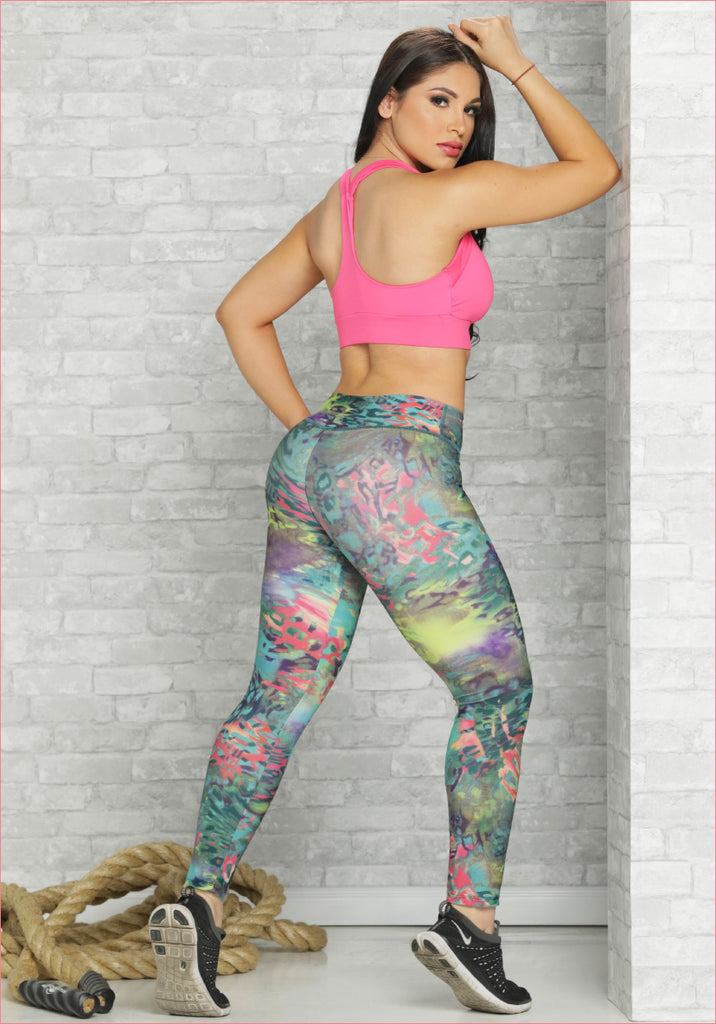 Women High Waist Sports Pants Print- D6007PR