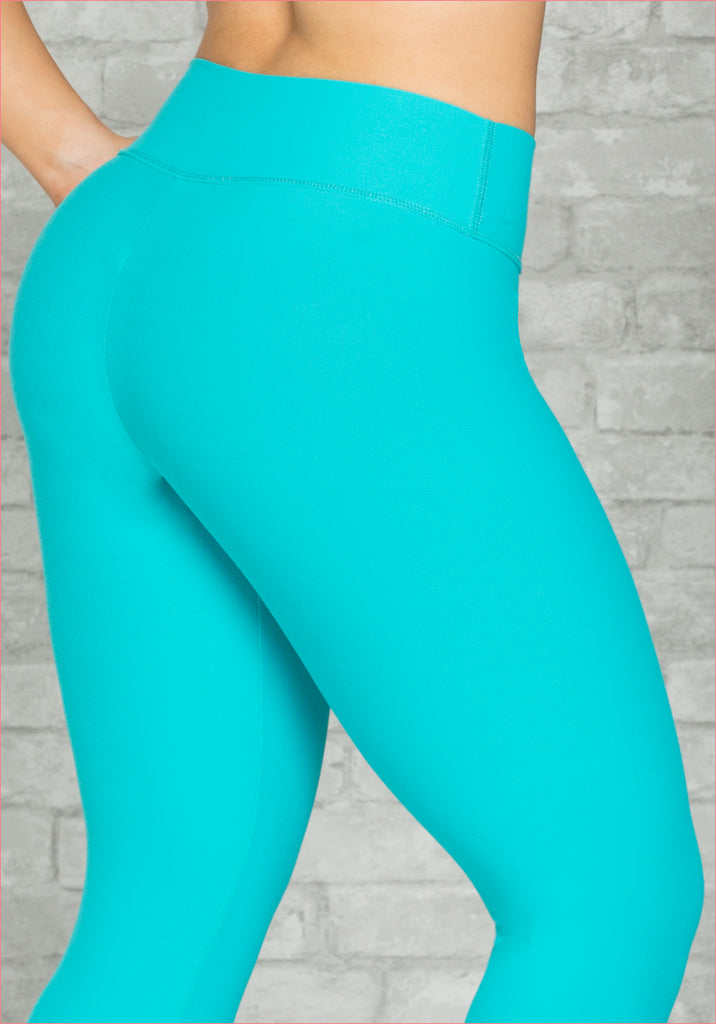 Women High Waist Sports Pants Turquoise - D6007TE