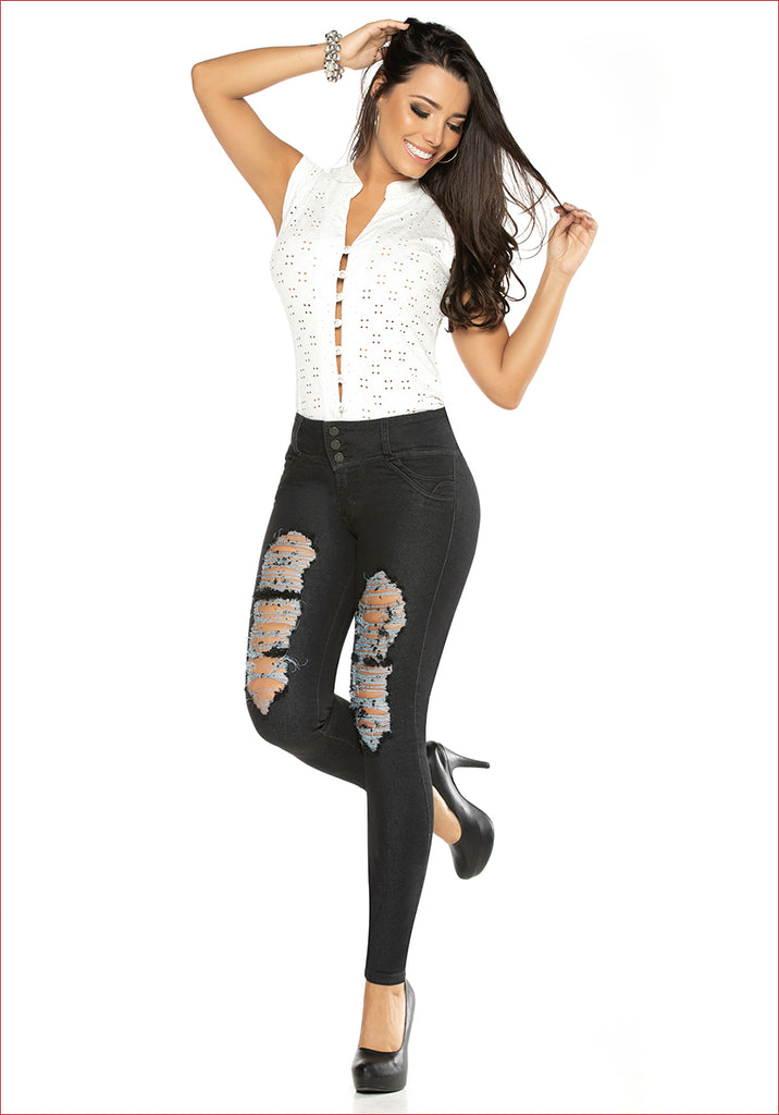 Ripped Skinny Black Jean for women - J8930
