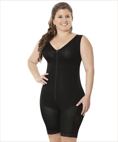 Firm compression shapewear - Boyshort style wide strap Bodysuit - C4151
