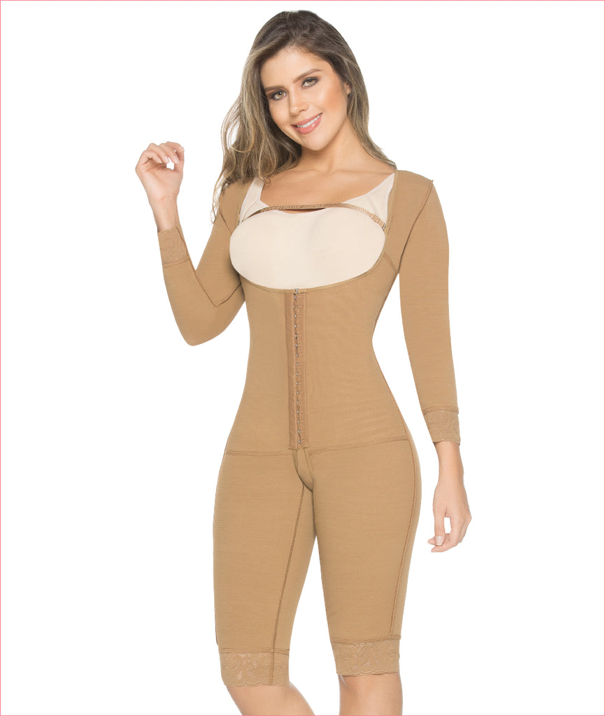 Post Op Garment One Piece with Compression Sleeves and Open Bust C9002