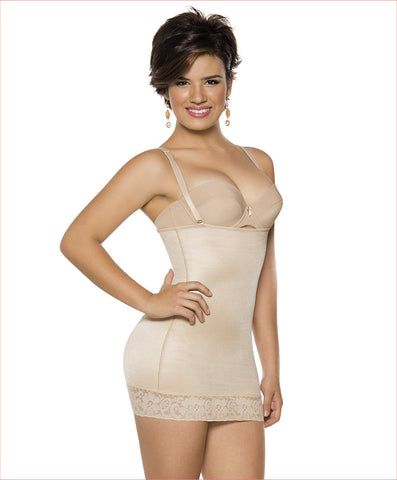 Firm compression girdle  Mid thigh Bodysuit - C4162