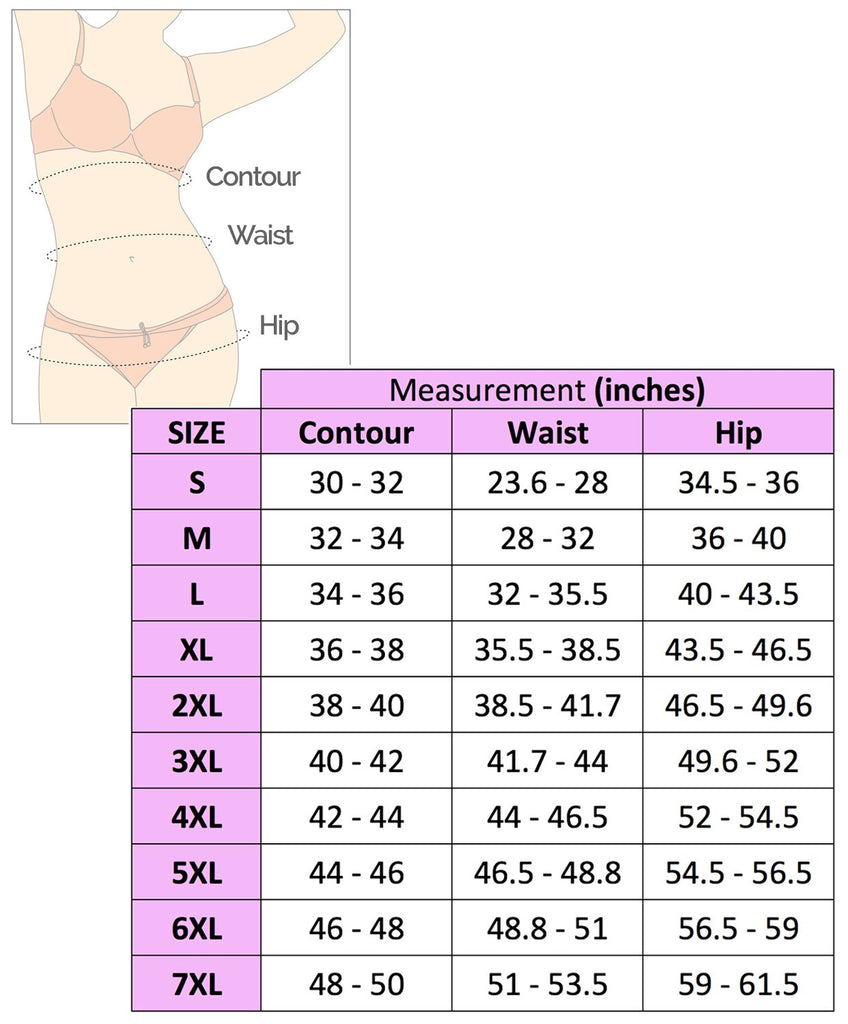 Equilibrium Girdle Body Shaper Size Chart