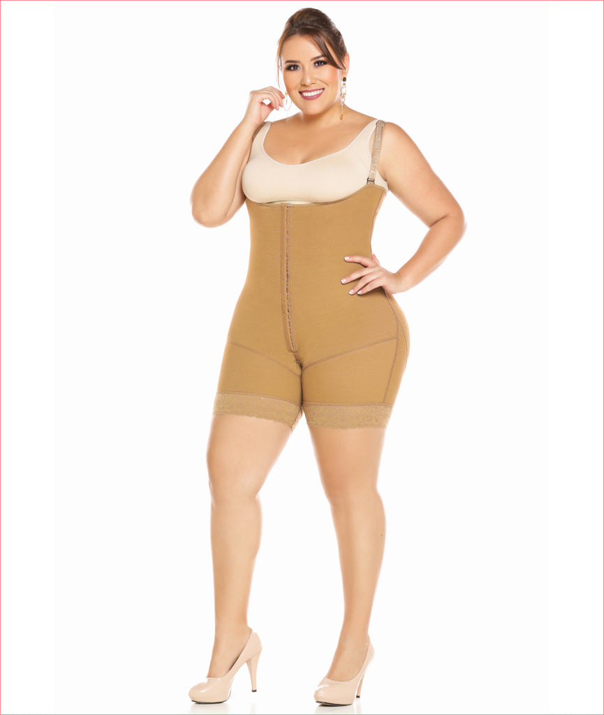 Post Op Compression Garment Open Bust Mid Thigh bodysuit C9018