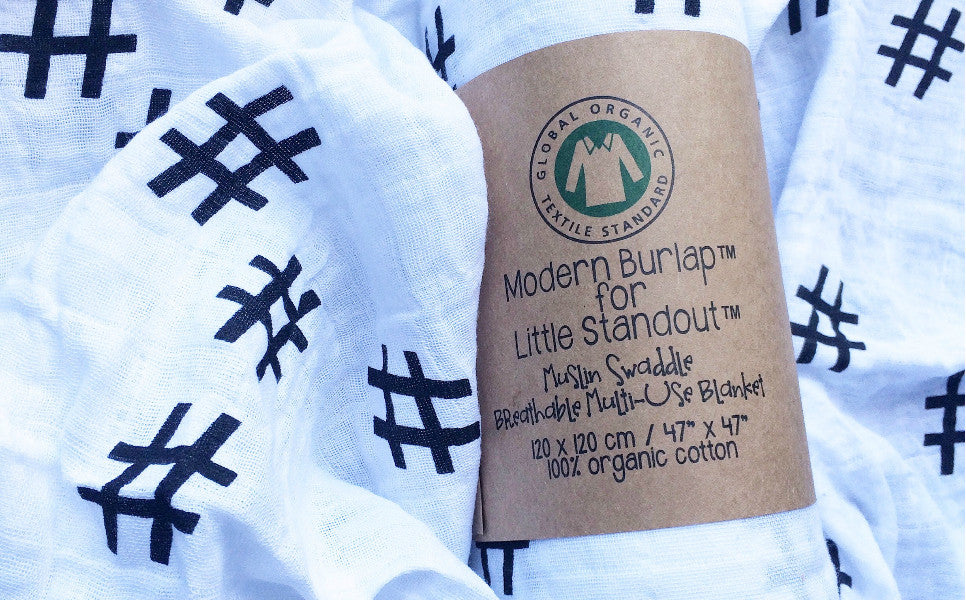 Organic Cotton Muslin Hashtag Swaddle