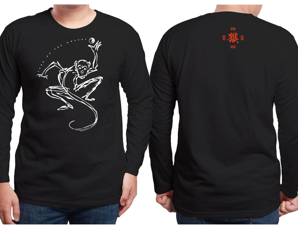 Year of the Monkey Black Long Sleeve Shirt Hi-NRG Design Birth Years: 1944, 56, 68, 80, 92, 04, 2016 X-Large FREE GREETING CARD W/ORDER