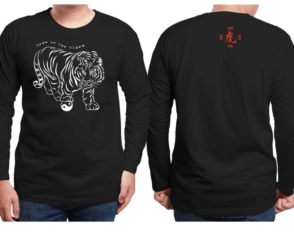 Year of the Tiger Black Long Sleeve Shirt Hi-NRG Design Birth Years: 1938, 50, 62, 74, 86, 98, 2010 X-Large FREE GREETING CARD W/ORDER