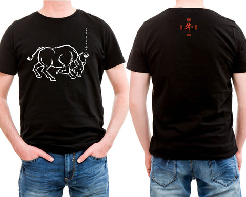 Chinese New Year Ox Black t-shirt Hi-NRG Design. Birth Years: 1937, 49, 61, 73, 85, 97, 2009  FREE GREETING CARD W/ORDER