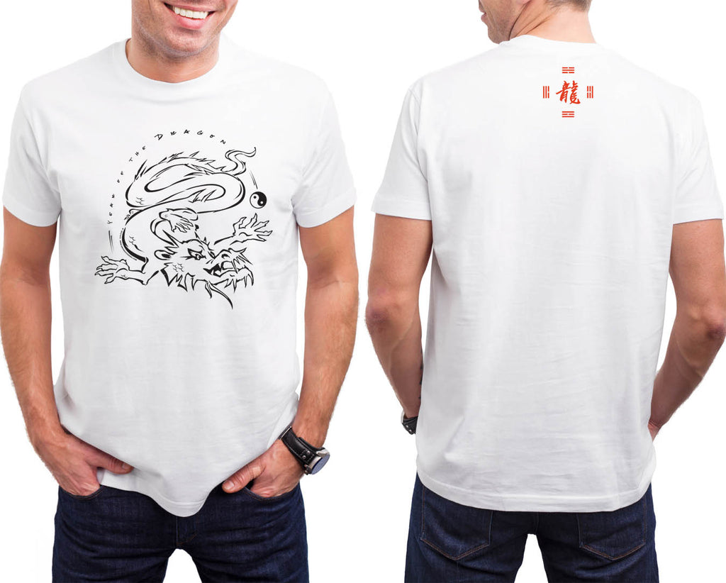 Year of the Dragon, Asian Oriental Zodiac HiNRG White T-shirt Birth Years: 1940, 52, 64, 76, 88, 20, 2012 FREE GREETING CARD W/ORDER