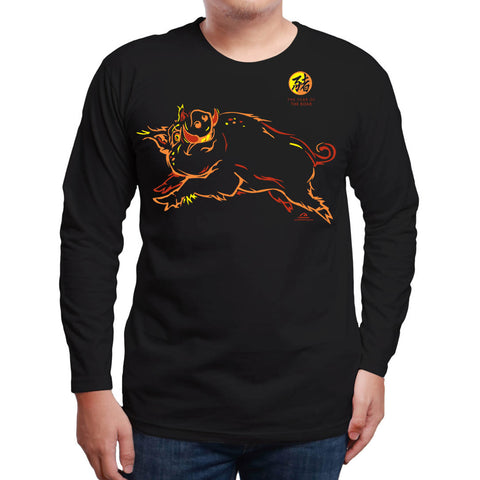 Year of the BOAR (Pig), Long Sleeve Black T-Shirt, Born: 1935, 47, 59, 71, 83, 95, 07, 2019 FREE GREETING CARD W/ORDER